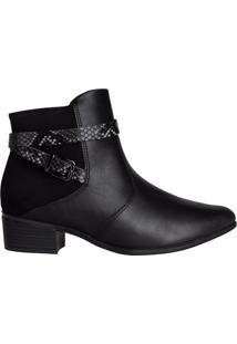 Bota Feminina Comfortflex Ankle Boot Snake Preto - 34