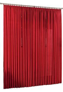 Cortina Quarto Sala Varão Seda Amore Vermelha 4,00M X 2,80M