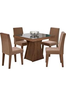 Conjunto De Mesa Olivia Para Sala De Jantar Com 4 Cadeiras Milena- Cimol - Marrocos / Chocolate
