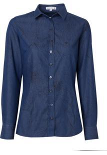 Camisa Dudalina Jeans Estampada Feminina (Jeans Escuro, 34)