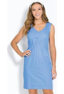 Vestido Azul Em Sarja Com Pregas Na Cintura