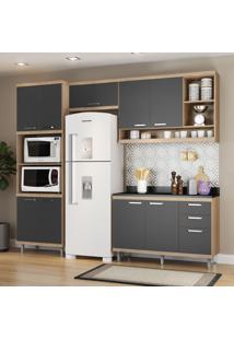 Cozinha Compacta 9 Portas 3 Gavetas Sicilia 5829 Premium Argila/Grafite - Multimóveis