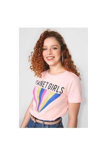 Camiseta Planet Girls Glitter Rosa