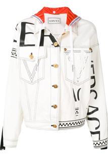 Versace Hooded Denim Logo Jacket - Branco
