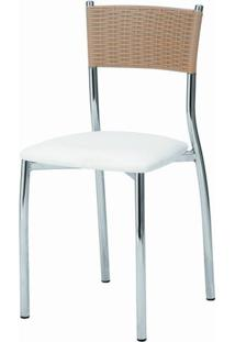 Cadeira Assento Korino Branco Enc. Junco Castanho 12288 - Sun House