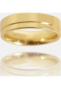 Aliança Clássica Semijoia Banho De Ouro 18K Anatômica Quadrada Com Friso 5 Mm - Kanui