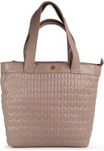 Bolsa Shopping Bag Ana Hickmann Matelassê Taupe Taupe