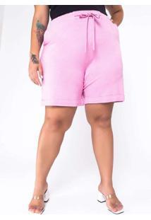 Shorts Almaria Plus Size New Umbi Moletinho Rosa