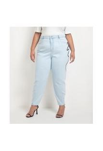 Calça Baggy Jeans Com Bordado Lateral Curve & Plus Size Azul