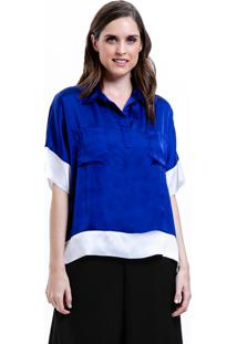 Camisa 101 Resort Wear Polo Bicolor Azul Branco