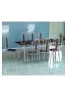 Conjunto De Mesa Cordoba Com 8 Cadeiras Granada Branco Prata E Preto Floral