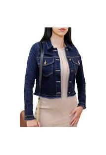 Jaqueta Jeans Feminina Cropped Com Elastano Curta Frozini Marmorizado Leve Azul Escuro