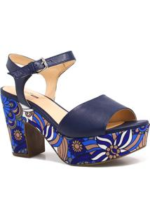 Sandália Zariff Shoes Plataforma Fivela Azul