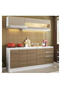 Cozinha Compacta 100% Mdf Madesa Smart 180 Cm Modulada Com Balcão E Tampo Branco/Rustic/Crema