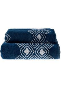 Jogo De Toalhas Banho E Rosto Elegance Azul Dark - 2 Un