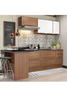 Cozinha Completa Multimóveis Com 6 Peças Calábria 5455R Nogueira/Branco Marrom