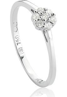 Anel De Ouro Branco 18K Flor Com Diamantes Rodinados- Diamond Flowers.
