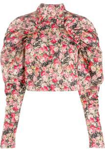 Rotate Blusa Kim Cropped Com Estampa Floral - Rosa
