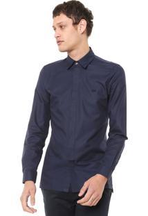 Camisa Lacoste Slim Lisa Azul-Marinho
