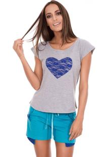 Pijama Curto Inspirate Coração E Renda Azul