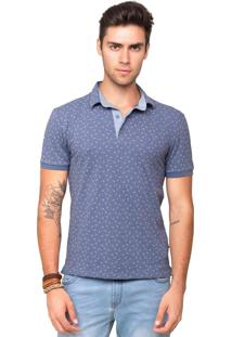 Camisa Polo Piquet Tony Menswear Foral Com Elastano Azul