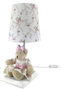 Abajur Toys Claro Ursa Rosa Provençal Quarto Bebê Infantil Menina