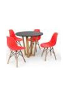 Conjunto Mesa De Jantar Lara 90Cm Preta Com 4 Cadeiras Charles Eames - Vermelha