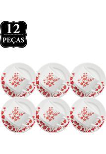 Conjunto De Xicaras De Chá Oxford Cerâmica Jardim Oriental 12Pçs Branco/Vermelho