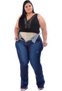 Calça Jeans Xtra Charmy Plus Size Flare Onilda Azul - Kanui