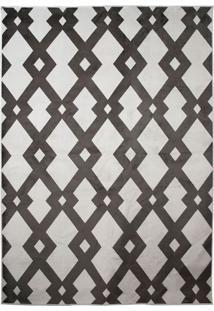 Tapete Geometric Ii Redondo Poliéster (160X160) Branco E Preto