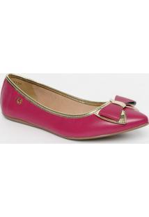 Sapatilha Com Laços & Couro- Pink & Douradacarmen Steffens