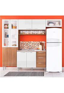 Cozinha Heloisa 0425T 9 Portas C/ Tampo – Genialflex - Castanho / Branco