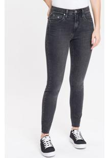 Calça Jeans Feminina Six Pockets Skinny Cintura Alta Preta Calvin Klein - 34