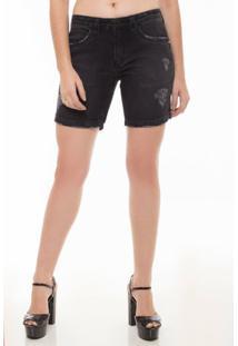 Bermuda Jeans Eventual Meia Coxa Mid Rise Feminina - Feminino