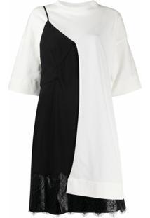Litkovskaya Vestido Color Block Com Recorte De Renda - Branco