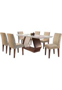 Sala De Jantar Alvorada 1.80M Com 6 Cadeiras Café/Off White Sued Amassado Chocolate