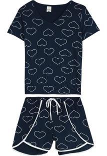 Pijama Azul Coração Essence