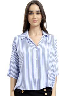 Camisa 101 Resort Wear Poncho Viscose Listrada Azul