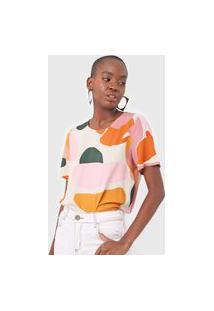 Camiseta Forum Estampada Bege/Rosa