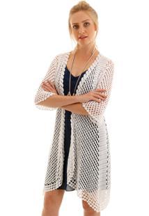 Cardigan Aha Crochet Barra Assimetrica Off- White