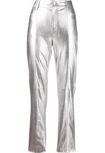 Karl Lagerfeld Calça Reta - Prateado
