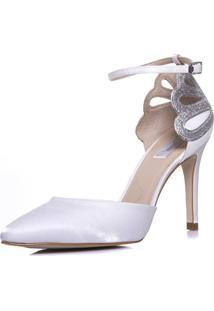 Scarpin Durval Calçados Noiva Salto Alto Cetim - Se9565 Branco
