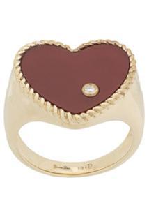 Yvonne Léon Anel 'Heart' De Ouro 9K Com Diamante - Dourado