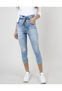 Calça Jeans Feminina Sawary Skinny Pull Up Cintura Alta Com Faixa Para Amarrar Azul Claro