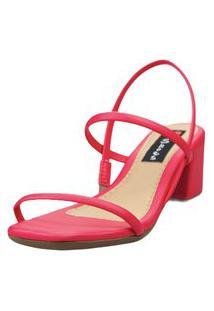 Sandália Salto Bloco Love Shoes Baixo Tiras Básicas Delicadas Pink