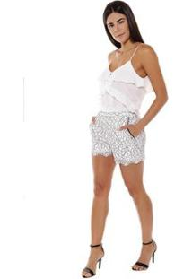 Regata Studio 21 Fashion Babados Perola - Feminino-Off White