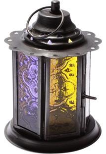 Porta Vela Lanterna Amarelo E Roxo 12X8,5Cm