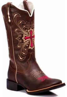 Bota Texana Em Couro Dexshoes Masculina - Masculino-Marrom