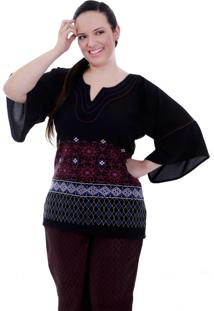 Blusa Lívia Bordado Plus Size