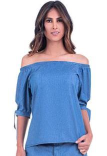 Blusa Ombro A Ombro Jeans Leve Feminino - Feminino-Azul